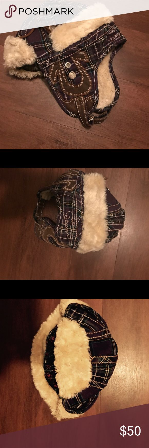 True Religion Trapper Hat wool Purple plaid wool hat with other materials. Very warm worn up or coverer ears from winter wind and cold weather. Excellent made made in CHINA True Religion Accessories Hats