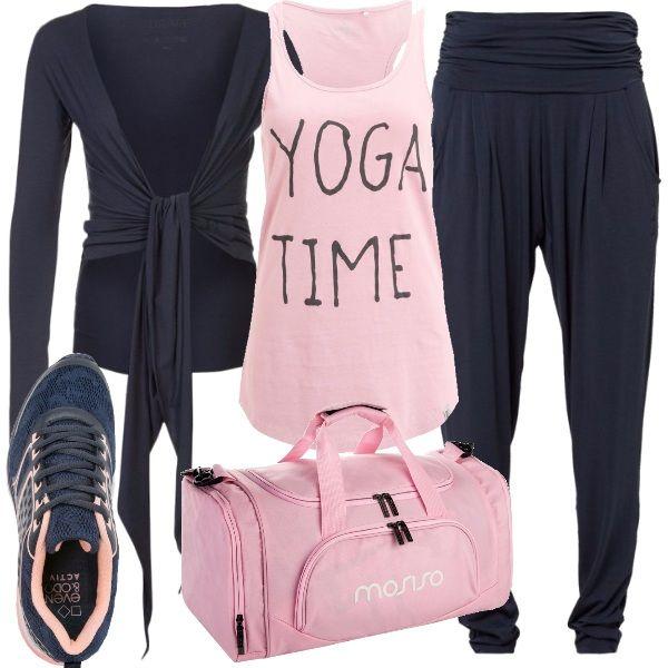 Chi ama fare yoga lo sa: la comodità prima di tutto. Ecco quindi un outfit adatto a chi si dedica a questa attività, basato su due soli colori: blu e rosa. I pantaloni sono studiati appositamente per fare yoga, blu con fascia in vita, la canotta rosa ci ricorda che è tempo di yoga, la felpa è indispensabile in questo periodo dell'anno. Per finire, scarpe sportive blu e rosa, ed un comodo borsone con tutto il necessario.