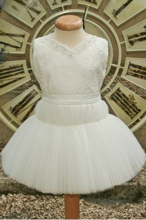 """Pretty christening dress for baby girls, with elegant lace and tutu skirt: """"Little Swan""""."""