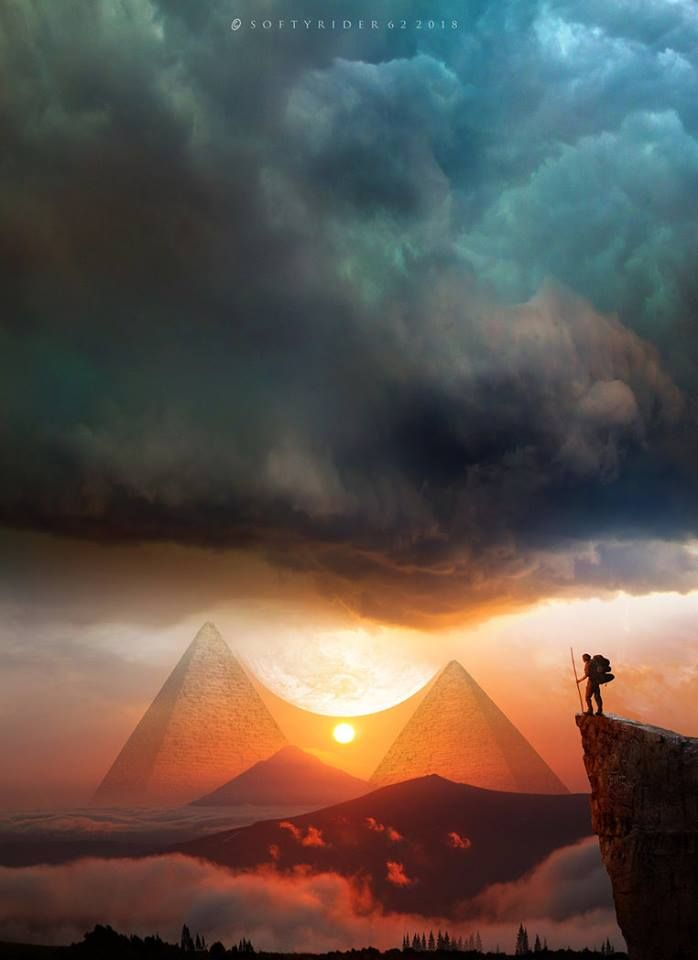 Playing With Shape Perspective And Color The Artist Is Able To Create A Mesmerizing And Calming Fantasy La Digital Art Fantasy Fantasy Landscape Surreal Art