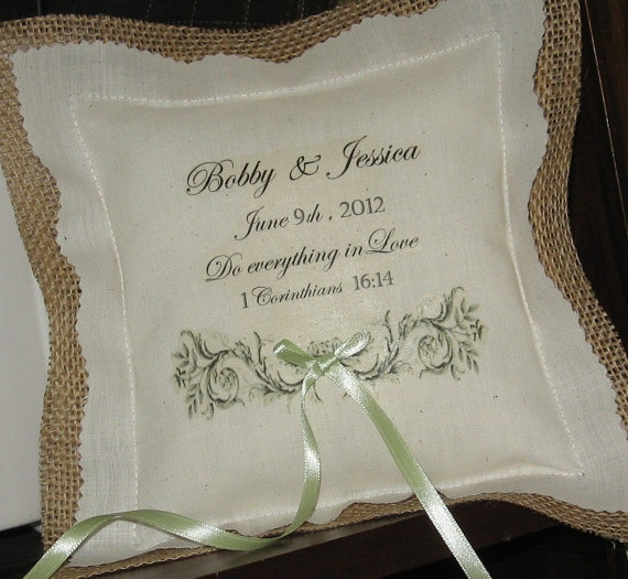 Burlap Ring Bearer Pillow With Personalized Embroidered