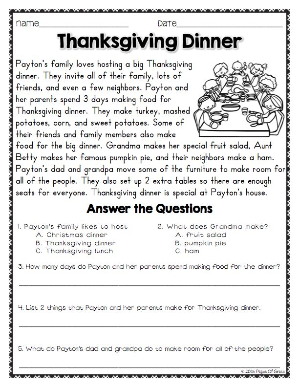 Product Preview Thanksgiving Reading Comprehension Reading Comprehension Worksheets Reading Comprehension