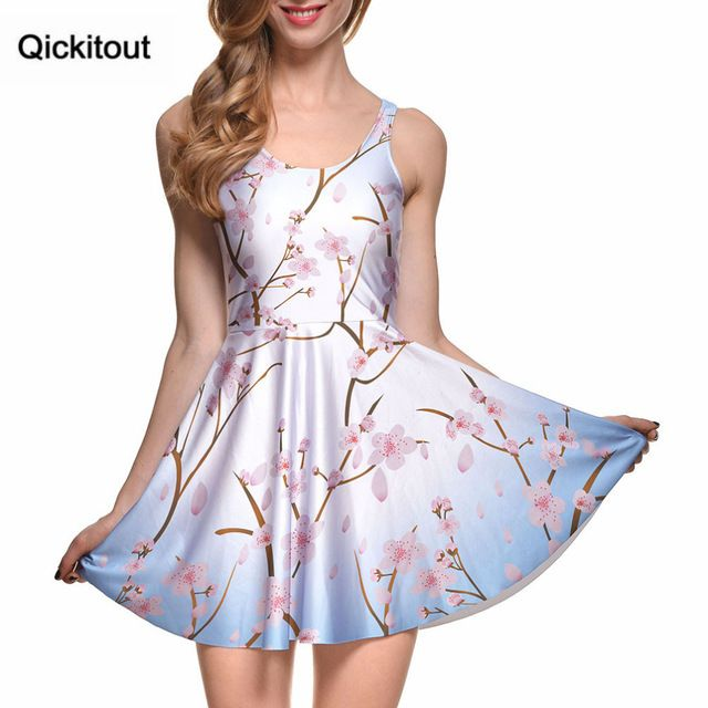 Drop Ship Brand New Hot Sexy Women Casual Dress CHERRY BLOSSOM BLUE REVERSIBLE SKATER DRESS Pleated Print Dresses S119-117