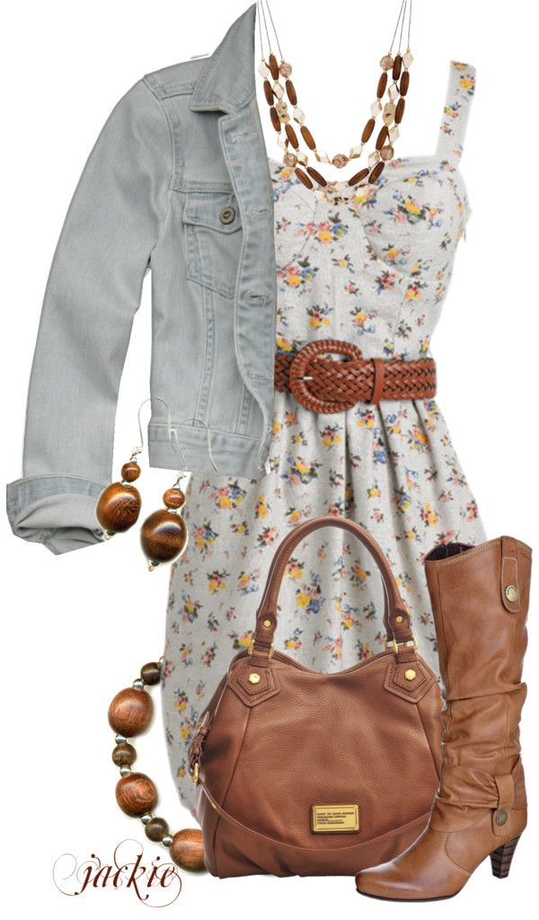 """Flower Dress"" by jackie22 on Polyvore. Not that crazy about te western feel but some different shoes and colors and it would work!"