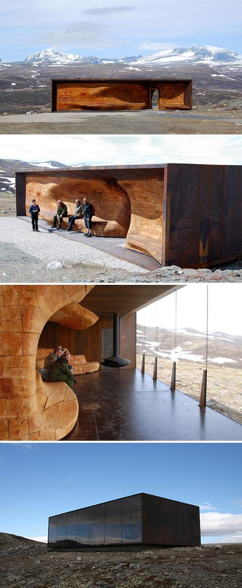 norwegian wild reindeer center pavilion - looks like a (corteen) steel structure with one glazed side and one wooden sculptural side with seating. Fabulous!