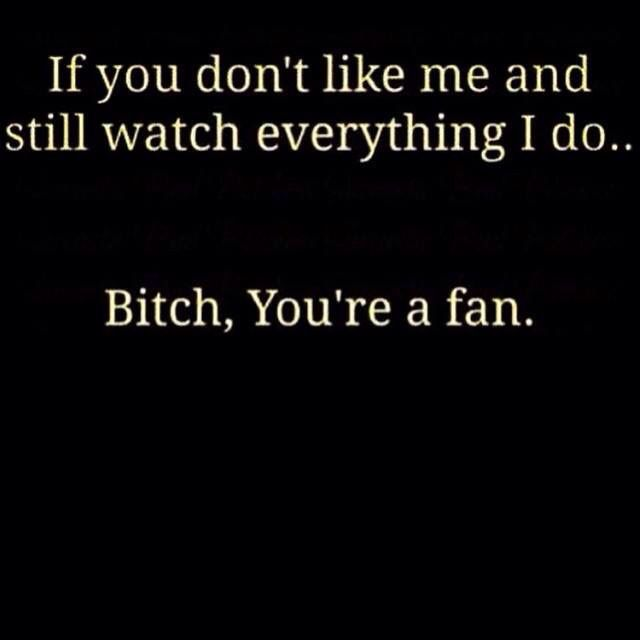 If you don't like me and still watch everything that I do... Bitch, you're a fan.