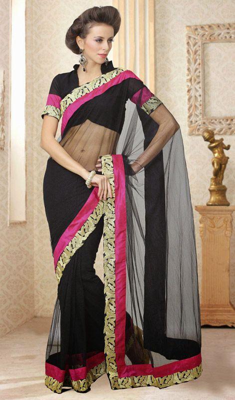 Designer Black Net Sari With Border Price: Usa Dollar $64, British UK Pound £38, Euro47, Canada CA$70 , Indian Rs3456.