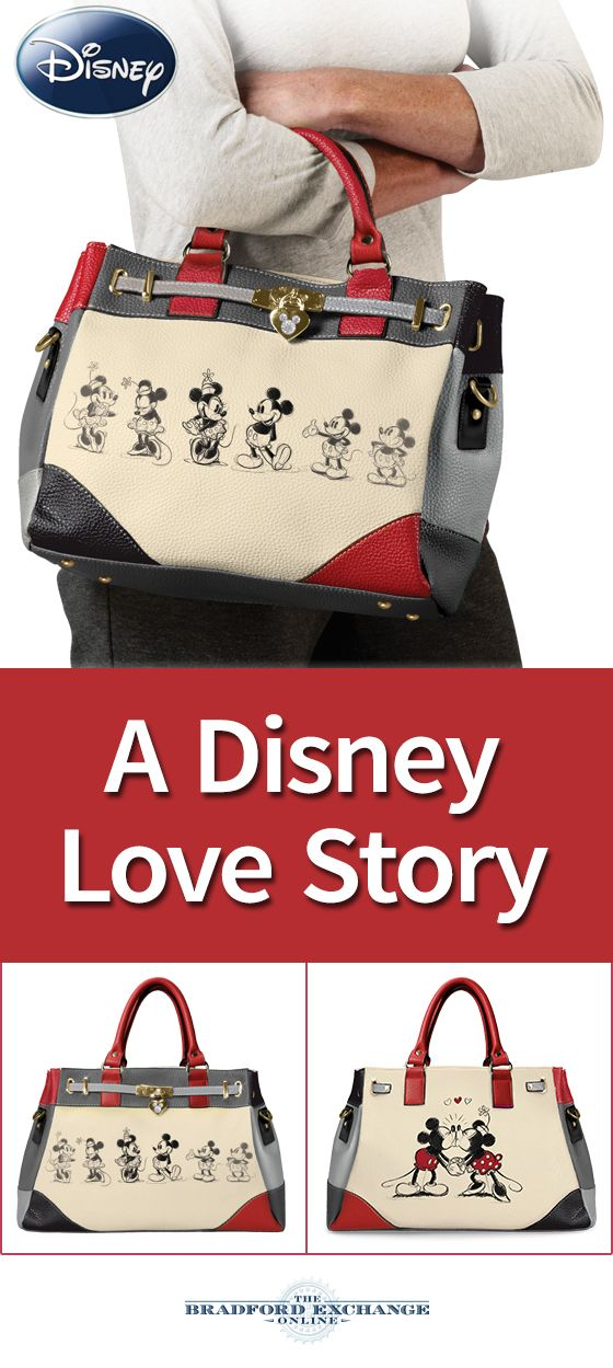 Celebrate the ultimate Disney love story! This magical handbag showcases vintage artwork of Mickey Mouse and Minnie Mouse on both sides. Plus, a locket-style charm with a Mickey Mouse silhouette adds a designer touch. As always, it's backed by the best guarantee in the business.