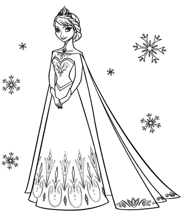 Frozen Coloring Pages Elsa Coronation Elsa coloring