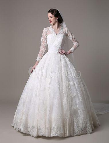 ケイト ・ ミドルトン王室の結婚式のドレス ヴィンテージ レース v ネック長袖と