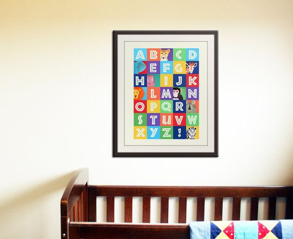 ABC wall art, animal alphabet print, children art. Safari art for nursery. Jungle ABC nursery decor. Childrens ABC print 11x14 by WallFry