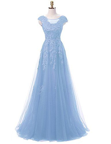 055badee976 New OYISHA Women s Capped Sleeves Long Bridesmaid Beaded Lace Prom Dresses  Formal FM003 online.