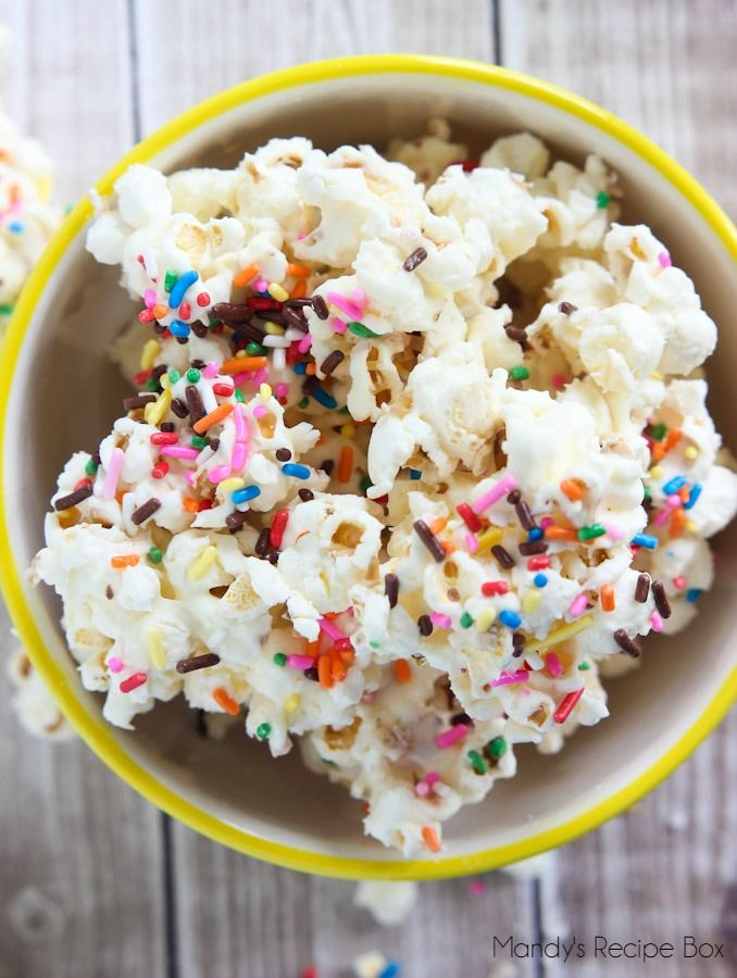 Birthday Cake Popcorn- best thing in live is food like this