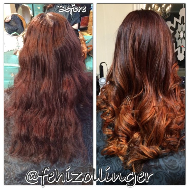 Reddish brown faded to a copper color ombre. Long hair ...