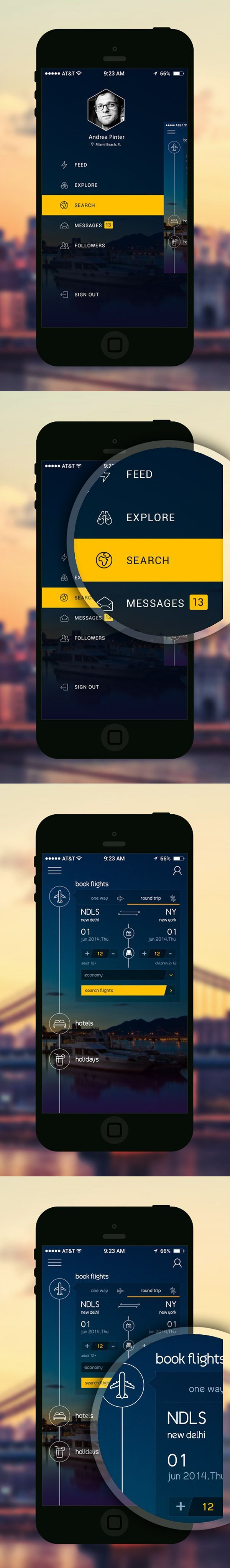 Free Booking App PSD According to iPhone 6+ on Behance. If you like UX, design, or design thinking, check out theuxblog.com