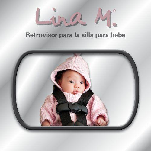 Retrovisor para sillitas de bebé y sistemas de retención infantil, para observar a su bebé en el asiento trasero, con 2 variantes de fijación (en el reposacabezas o en la ventanilla trasera). Tamaño del espejo 155 x 95 mm. Espejo para asiento trasero Lina M.® únicamente en AMAZON