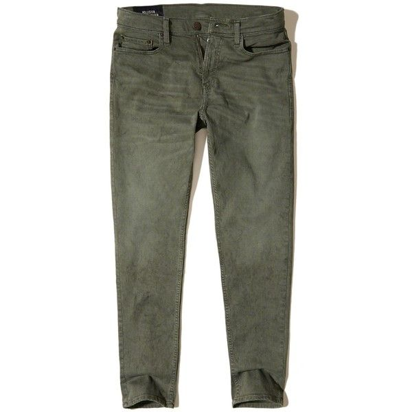 Hollister Classic Taper Jeans ($25) ❤ liked on Polyvore featuring men's fashion, men's clothing, men's jeans, green, mens faded jeans, mens tapered jeans, mens green jeans and mens stretch jeans