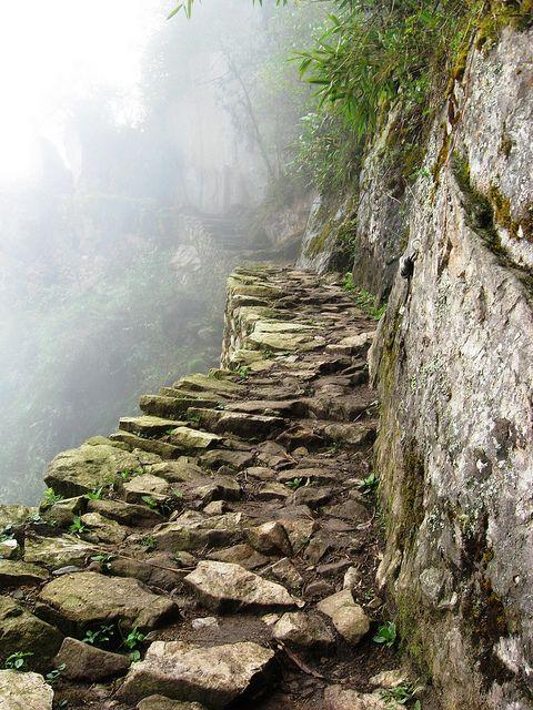 Path to Inca Bridge on the trail to Machu Picchu, Peru