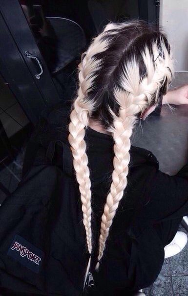 grunge hairstyle black roots white ombre light strands braid long hair