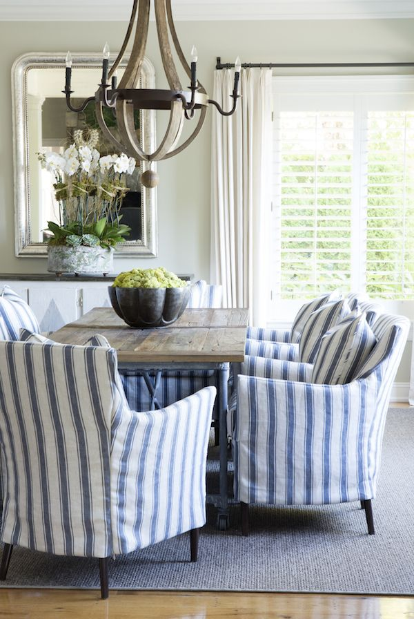 Sam Allen Interiors - Blue and White Ticking Stripes Dining Room  **have always liked the colours of ticking; this would be great to cover my chairs, sofa, etc. for the hotter summer months.  This would go great with the ticking shown in the other pin.**