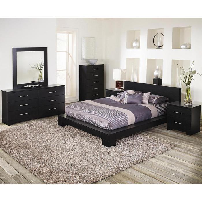 Brooklyn 4Piece King Bedroom Set in Grainy Cinder Oak