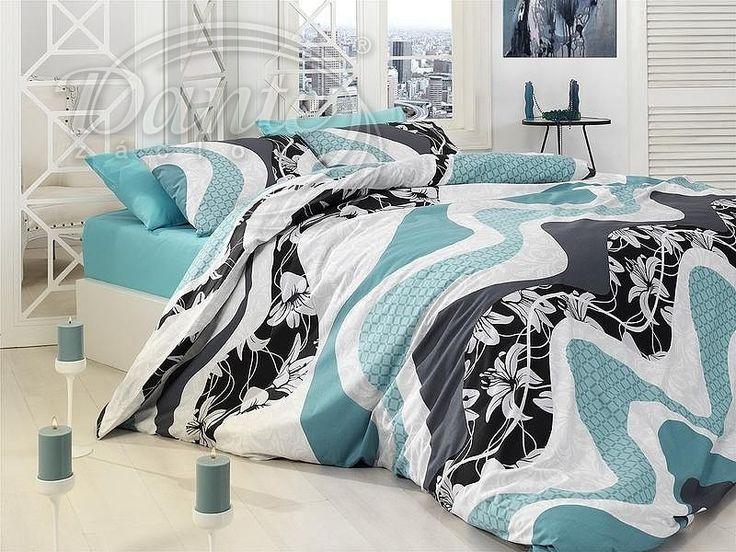 Krásné, moderní povlečení z hladké bavlny se vzorem v kombinaci tyrkysově modré a šedé barvy se stane nepřehlédnutelným doplňkem ve vaší ložnici .     Vzor na obou stranách povlečení je stejný.     Zapíná se na zip.     Materiál: 100% hladká bavlna.