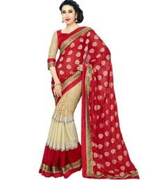 Buy red embroidery  georgette saree with blouse party-wear-saree online