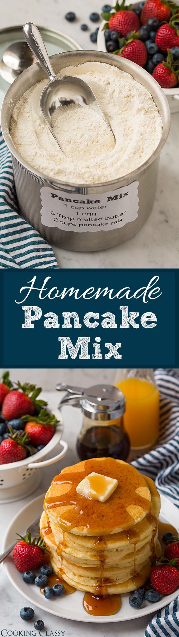 Homemade Pancake Mix - you'll never need to buy the store-bought stuff again! Makes delicious, soft and fluffy pancakes every time.