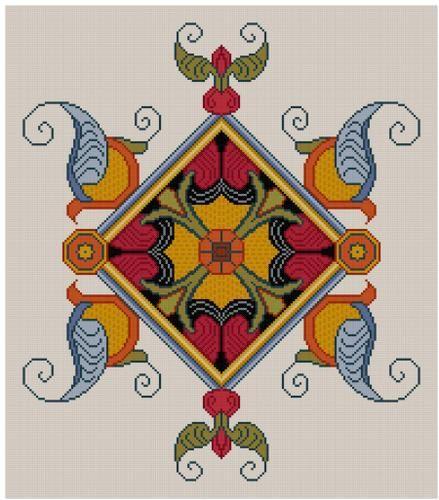Verlicht middeleeuws Manuscript ontwerp motief No 2 Cross stitch patroon PDF