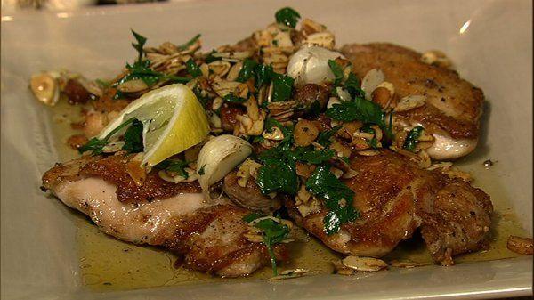 the chew | Recipe  | Michael Symon's Chicken Amandine: Recipes Chicken, Chicken Recipes, Chicken Amandin, Amandin Recipes, Symon Chicken, Chicken Dishes, Chicken Thighs, Michael Symon, Chewing Recipes