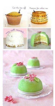 Idee für Minikuchen - Teig in Cupcakeform backen, füllen und verzieren.