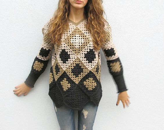 Crochet sweater. Granny square sweater. Crochet pullover. Womens winter sweater. Retro Women Sweater. Gray Black Sweater. One of a kind.  https://www.etsy.com/shop/KrissWool?section_id=18868005&ref=hdr_shop_menu  --------------Exclusive design by KrissWool------------  Elegant and fine item worked crochet granny square, crochet handmade and hand-made knit cuffs with high quality merino wool  Do you like Summer lace vest, Womens vest or granny square sweaters? Visit this section…