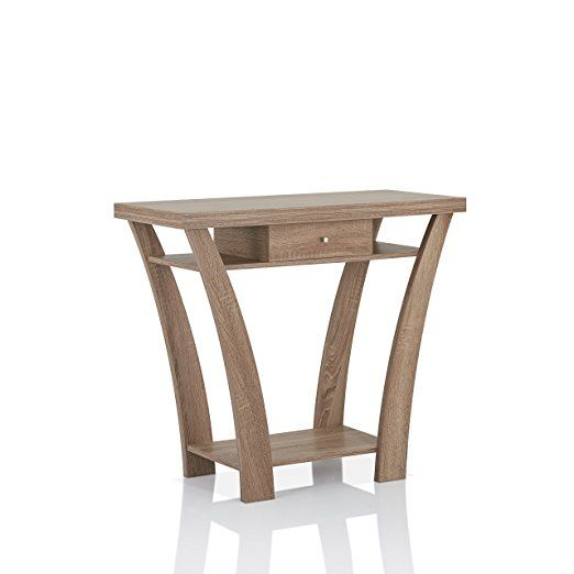 Furniture of America Ella 1 Drawer Console/Sofa Table, Light Oak