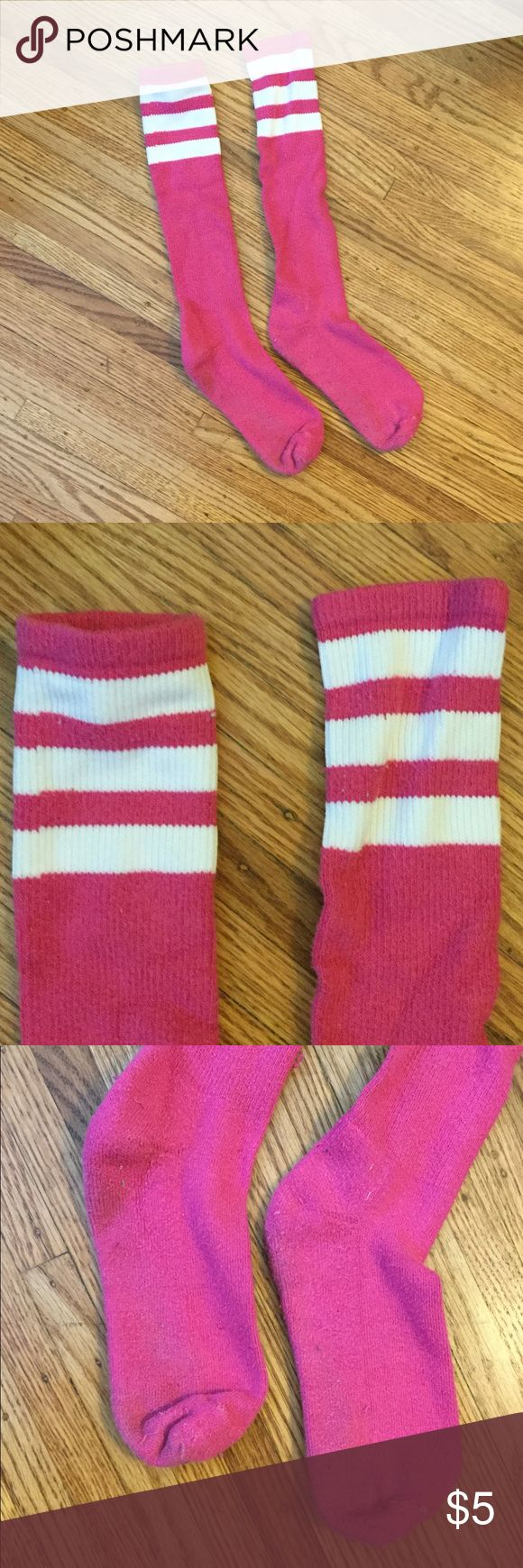 Pink knee high socks with white stripes Pink knee high socks with white stripes. Good quality, thicker cotton. EUC. Only wore a couple times. American Apparel Accessories Hosiery & Socks