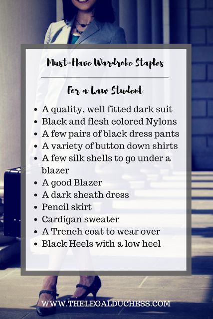Wardrobe staples for a law student