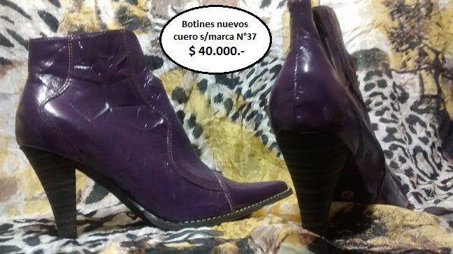 Se venden hermosos botines cuero acharolado color morado No. 37, nuevos, fabrica nacional a $ 40.000,-