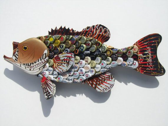 I will make to order a custom large mouth bass with your choice of bottle caps. In the bass pictured I used many different caps. Your bass will be