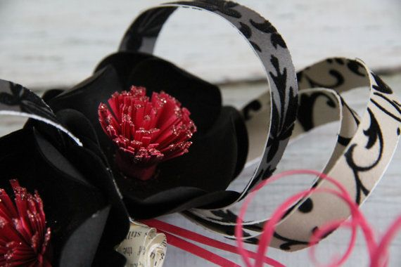 Black Paper flower Fascinator hand made Perfect by 2CLVR4UDESIGNS, $50.00