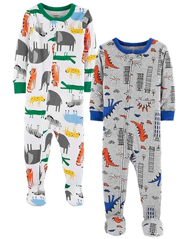 d160189efe8c Carter's Baby Boys' 2-Pack Cotton Footed Pajamas (5T, Animals/Dino ...