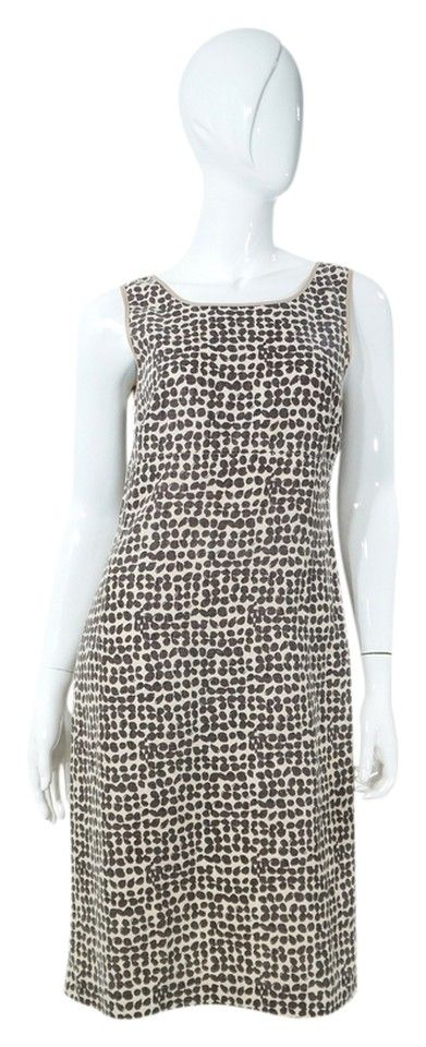 """MaxMara Brown & Cream Print Sleeveless Sheath Dress. Detachable brown leather belt included. 100% Linen, dry clean only. Excellent gently used condition with light overall wear. Back zip closure. Marked Size 36 / US 4. Bust 34"""", Waist 32"""", Length 39"""". Retail $1,400.00 + Tax"""