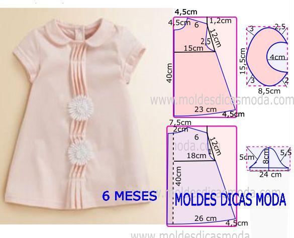 e1d8e6fe3 Molde para hacer vestido para niña de 6 meses