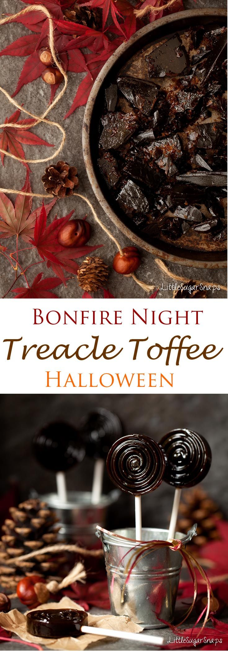 Bonfire Toffee (Treacle Toffee): rich, buttery and deliciously dark, this toffee also makes a great Halloween treat. #BonfireToffee #TreacleToffee #BonfireNight #halloween #toffee #PlotToffee