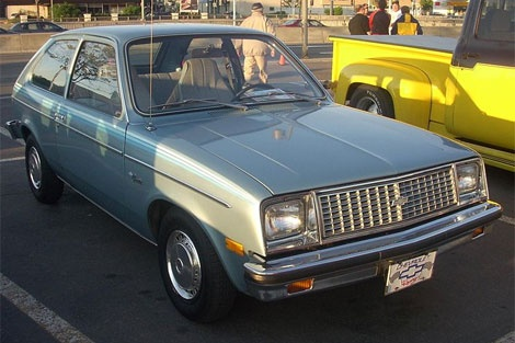 Chevy Chevette. I had a Chevette when I was in nursing school. It was an ugly greenish brown and I called it the Turtle. POS car would stall at red lights so I would keep my left foot on the brake and rev the engine.