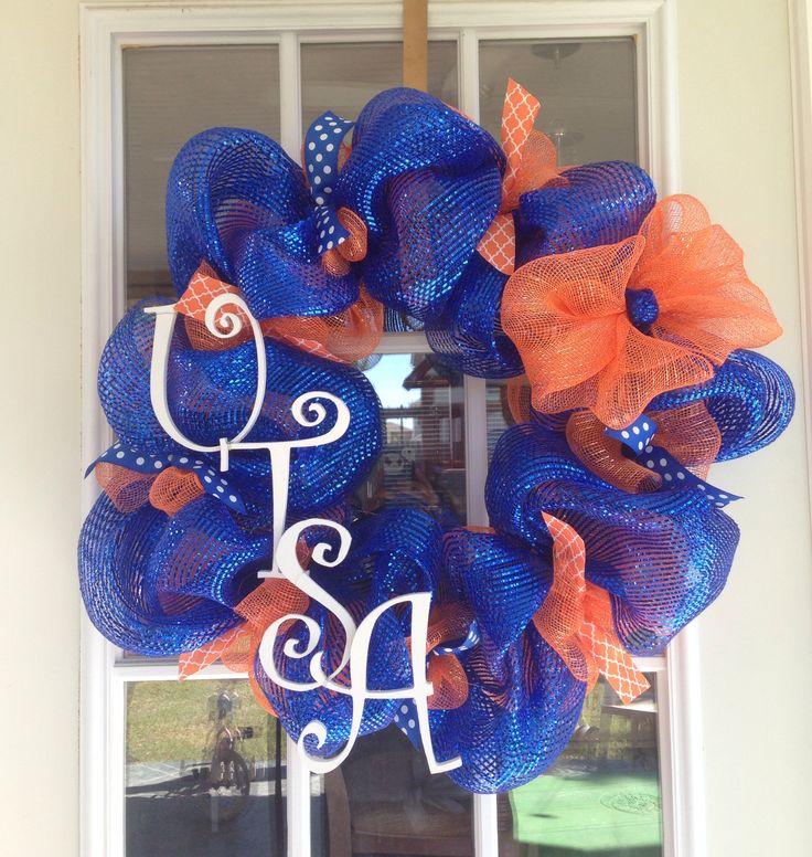 Just made another custom order. UTSA Roadrunners Deco Mesh wreath!