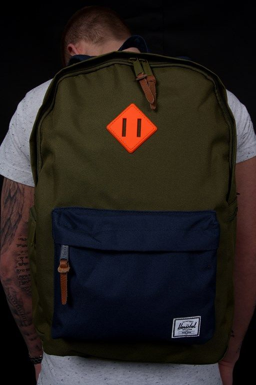 f169bc1bccc Herschel Backpack Heritage Plus Update Army Navy Neon Orange Rubber