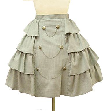 Vintage Military Short High Waist Side Frill Beige Cotton Punk Lolita Skirt