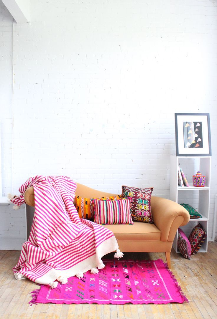 Neon Pink Moroccan Pompom Wool Blanket, Baba Souk