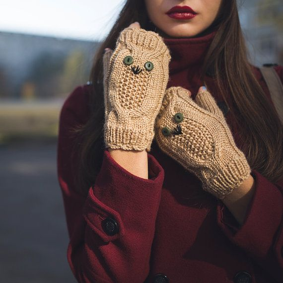 Knited Beige Owl Wrists / Fingerless Gloves / by NatalieKnit