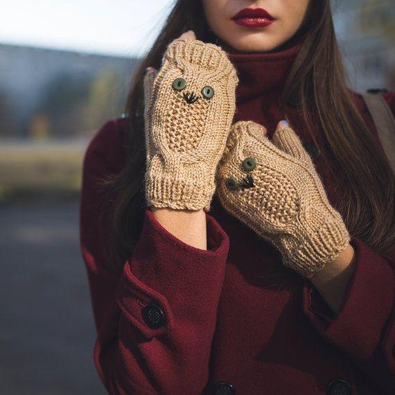 Knited Beige Owl Wrists / Fingerless Gloves / by NatalieKnit