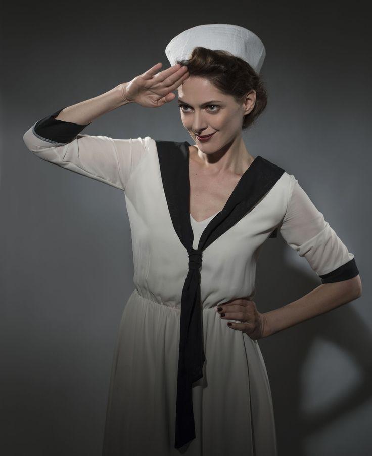 Actress Klara Issova wearing Lazy Eye Prague vintage dress.